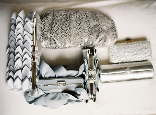 a collection of chic grey clutches  Photography by annerobertphotography.comWedding Accessories, Chic Grey, Floral Design, Clutches Photography, Grey Clutches, Bouquets, Collection, Accessories 891948, Bridesmaid Gift