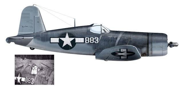 F4U-1A Corsair.BuNo 17883 №.883 Pilot-Maj Gregory Boyington из VMF-214 1943
