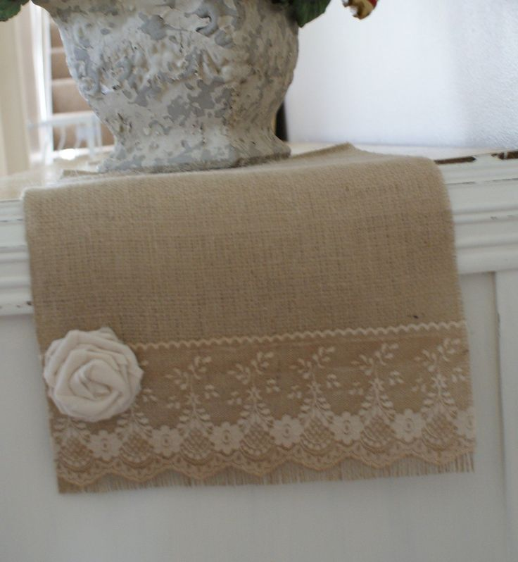Burlap tablerunner with lace and rose - love it!
