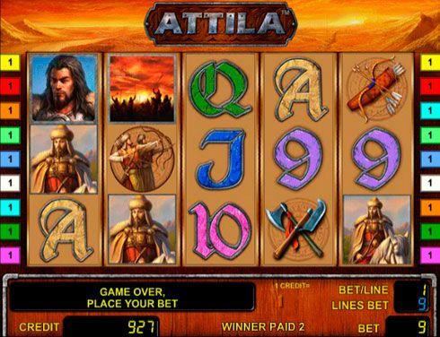 Играть в автомат Attila онлайн в казино Вулкан.  В онлайн казино Вулкан вы ознакомитесь с историей знаменитого правителя гуннов при помощи игрового автомата Attila. Играть на деньги в этот аппарат интересно и прибыльно. Здесь вас ждёт не только качественное графическ