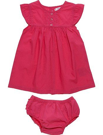 Robe + culotte à volants     						                        	                            	                            	                        	                            	                        	                            	                        	                            	                        	                            	    						rose vif Bébé fille