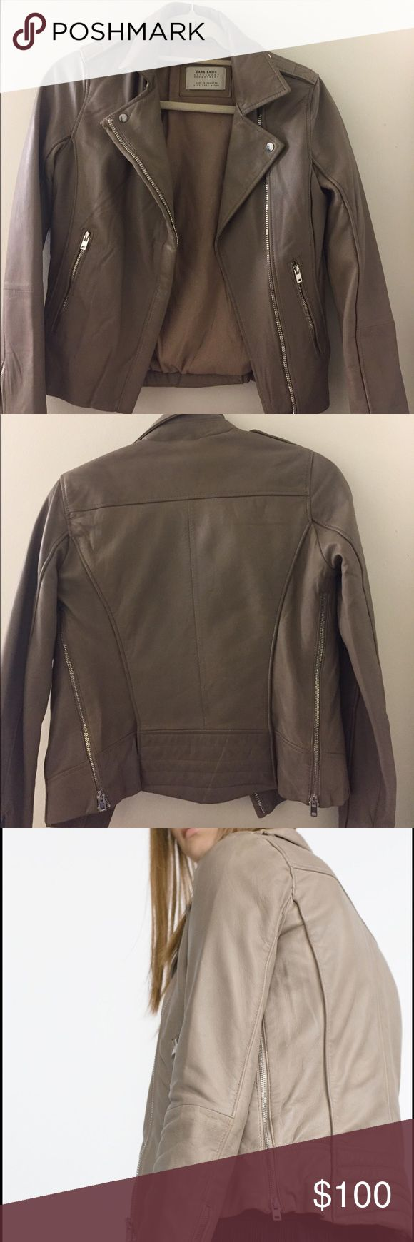 Zara taupe real leather jacket size small new Buttery soft taupe real leather jacket brand new never worn outside its been sitting in my closet! No rips or tears but slight amount of wear on sleeves. Dark beige/taupe, not tan. Zara Jackets & Coats