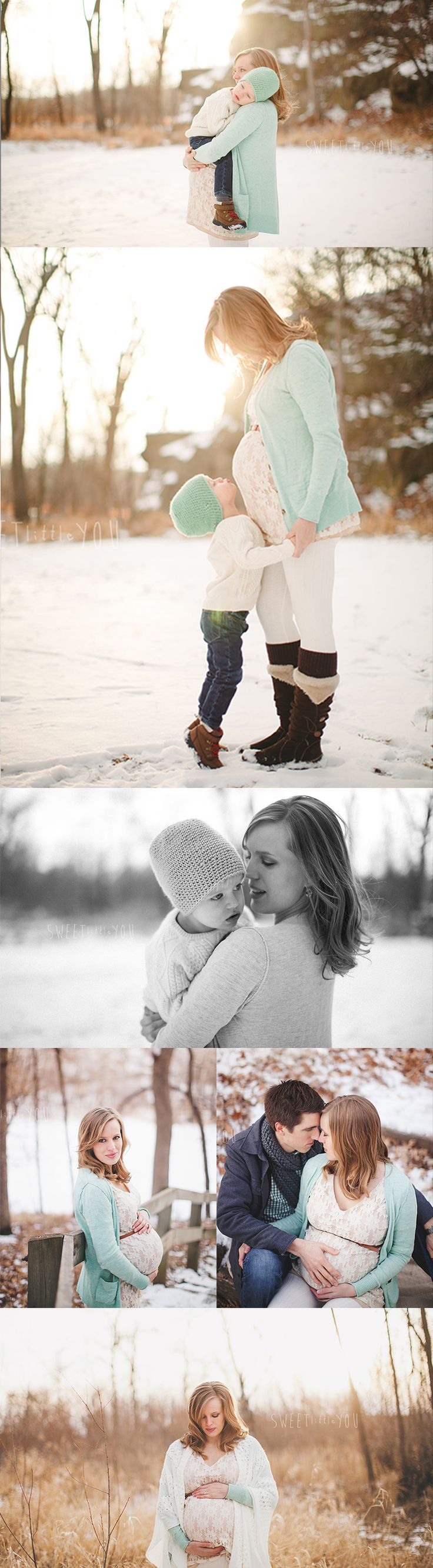Winter maternity photos. Boots, some color, some pop of the belly sticking out. A beautiful blanket nice too.
