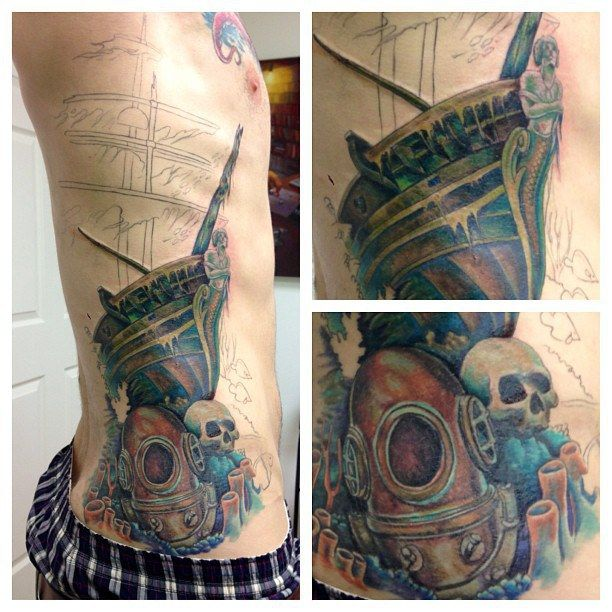 Underwater Shipwreck Tattoo Work in progres...