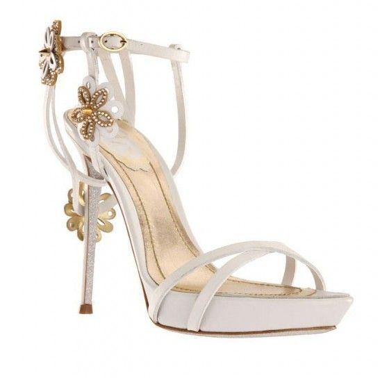Collezione scarpe Renè Caovilla Primavera/Estate 2013 - Sandali bianchi con fiori oro