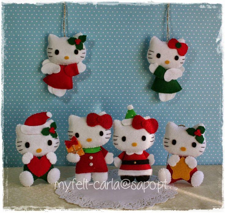 Decoração de Natal - Hello Kiity em feltro!