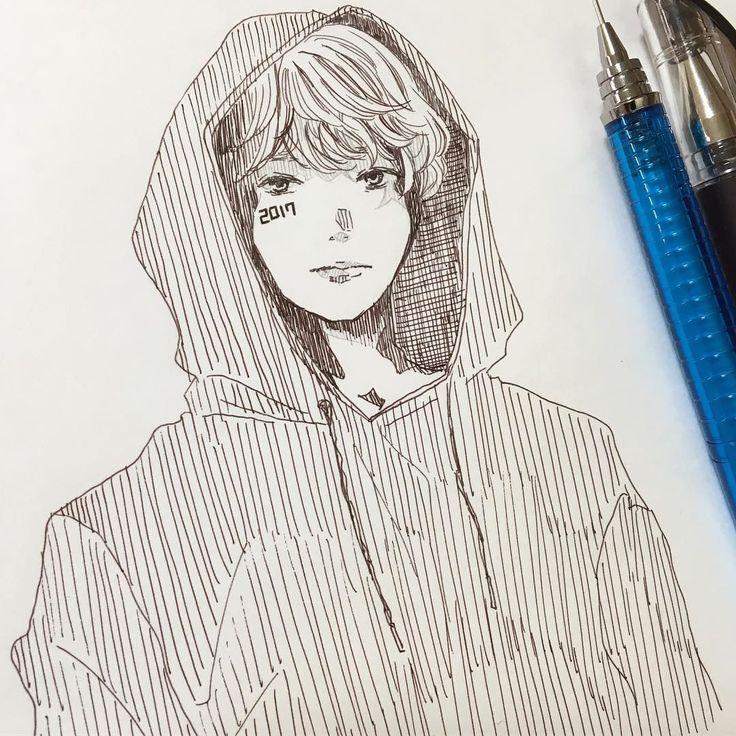2017.01.28 새해 복 많이 받으세요!  #旧正月#설날#구정#2017 . #イラスト#絵#らくがき#ファッション#パーカー男子#illustration#drawing#doodle#pendrawing#fashion #일러스트#낙서#드로잉
