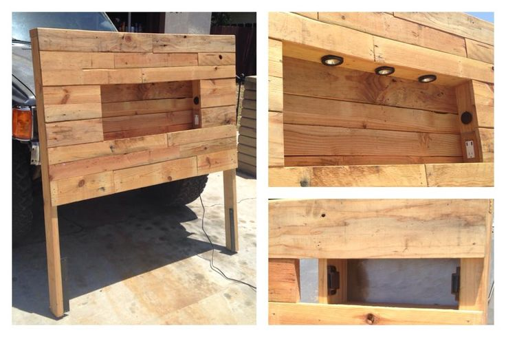 A custom headboard I made out of recycled pallets.  It includes dimmable touch lights, wall outlets, USB ports and a secret compartment.