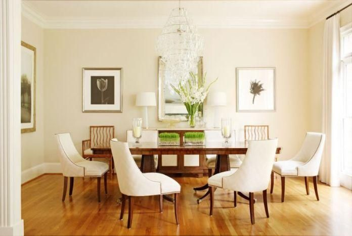 Neutral dining room paint color is cream fleece by for Popular dining room colors