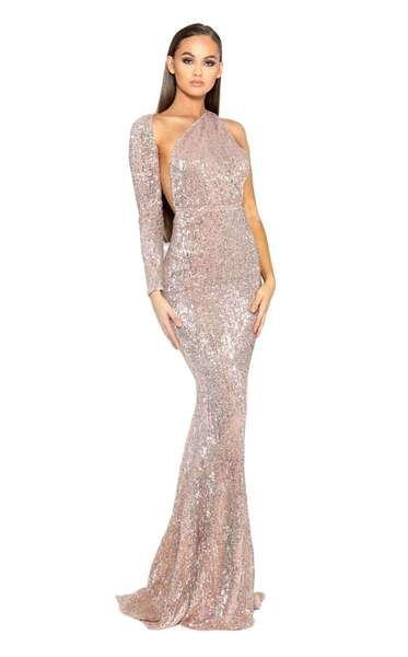 083570094388 One shoulder long sleeve mermaid gown by Portia and ScarlettLet no one  forget your prom look with this glitzy outfit designed by Portia and  Scarlett.