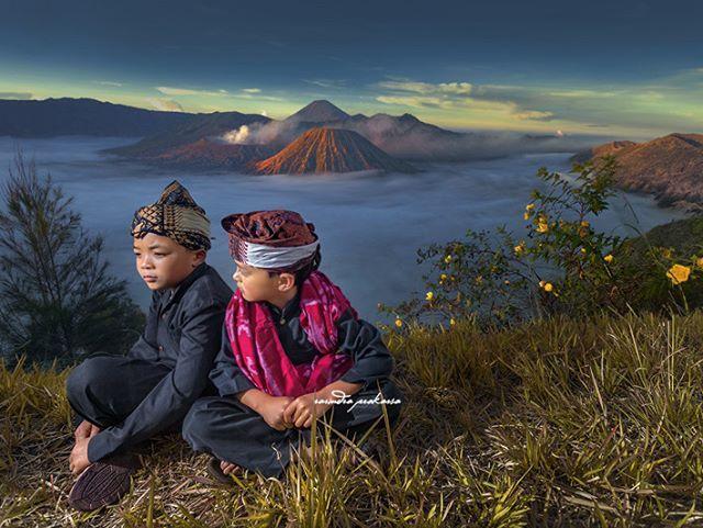Two Tenggerese Boys. Tengger is native people inhabit around Mt Bromo, East Java, Indonesia