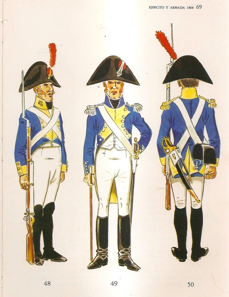 Spanish; Foreign Line Infantry, 1808. L to R Irish Regt Irlanda, Fusilier, Irish Regt Hibernia, Officer & Italian Regt Napoles, Sergeant.