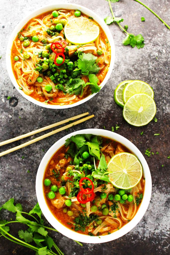 This Easy Slow Cooker Thai Chicken Noodle Soup makes it easy to enjoy ...