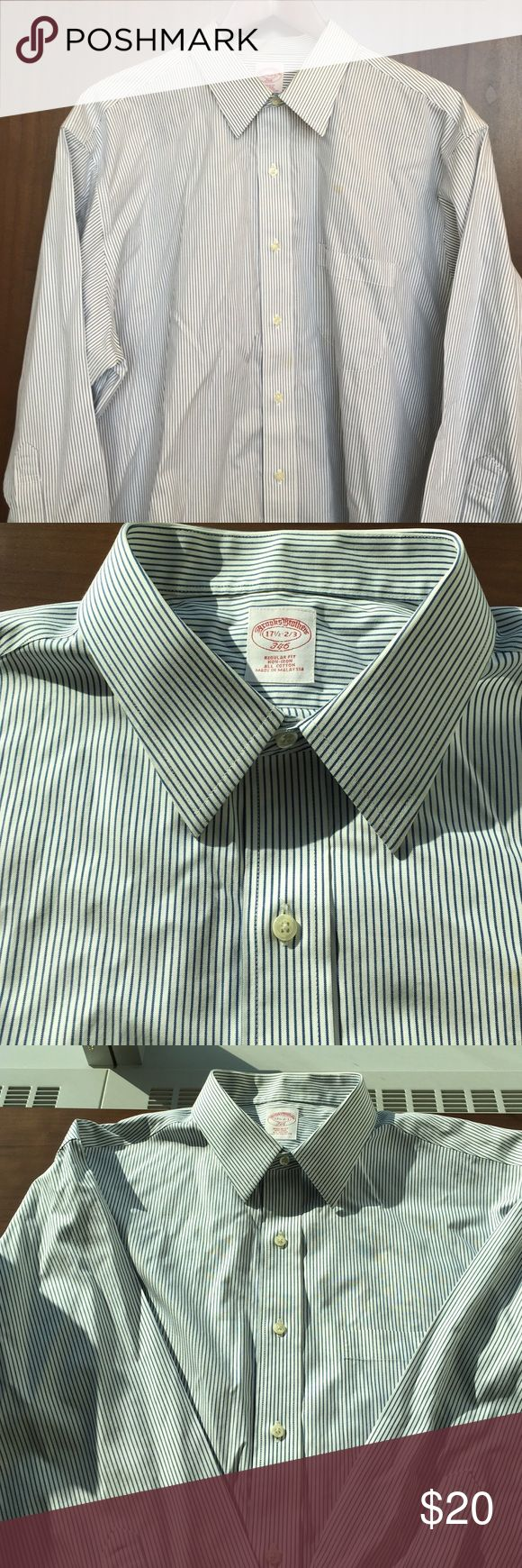 Brooks Brothers Non Iron Dress Shirt! The gold standard in dress shirts! This non iron traditional cut shirt is well made and easy to take care of. Machine watchable and non iron. Small stain above front pocket. From a pet and smoke free home! Brooks Brothers Shirts Dress Shirts