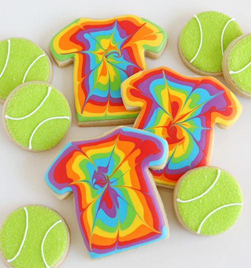 Tie Dye T-Shirts and Tennis Ball Cookies