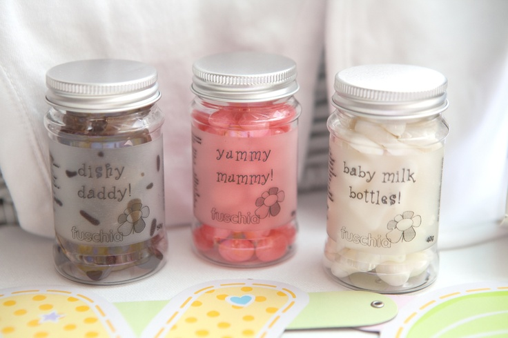 These oh so cute Fuschia candy jars are perfect for baby shower favours and gifts or the mummy to be.  £2.99 each from the Fuschia Boutique at www.fuschiadesigns.co.uk.