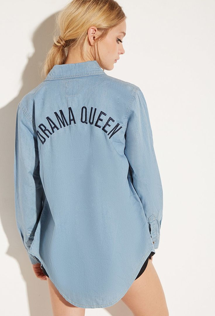 Local Heroes Drama Queen Denim Shirt   Forever 21 - 2000141771