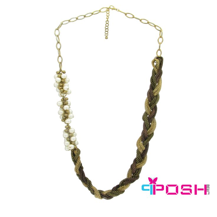 Megan - Colourful multi Chain necklace with glass pearls - Gold colour chain - Dimensions: 46cm + 6cm extending chain $48 #necklace #jewelry