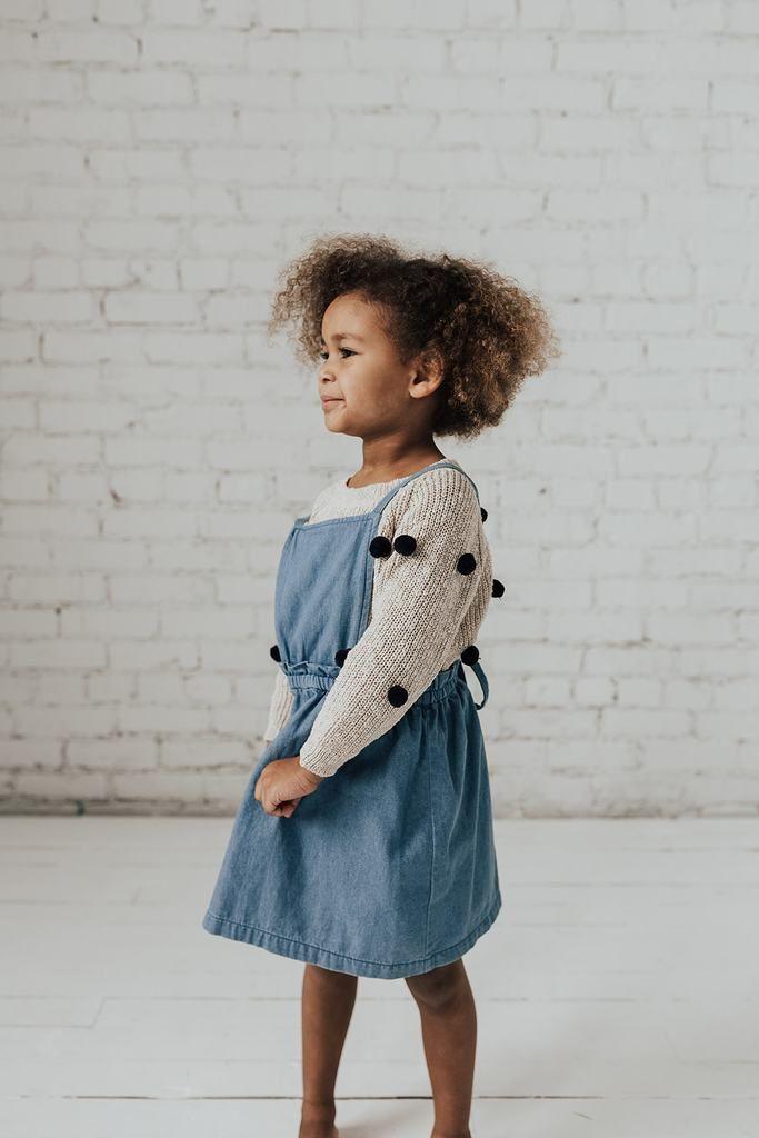 f5c5d6a88 KIDS Denim Overall Jumper Dress KIDS Denim Overall Jumper Dress - Henly  Clothing Tags, Jumper