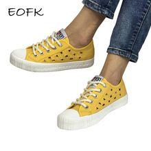 EOFK 2017 Yeni Tasarım Moda Yaz Nefes Kadınlar Casual Loafers Sarı Mesh Tuval Ayakkabı Düz Kumaş Ayakkabı Kadın Flats (Çin)