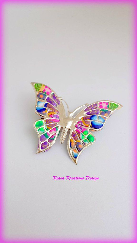 Spilla Colorata Farfalla In Fimo Regalo Mamma Con Murrine