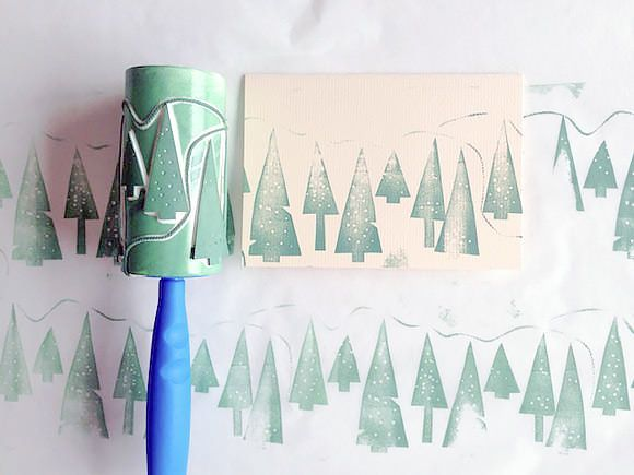 Make beautiful Christmas cards and gift wrap using Lint roller