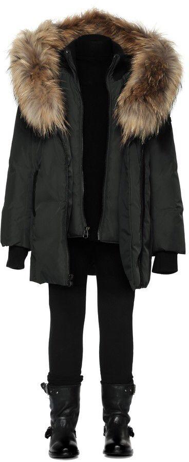 Leelee Black Winter Down Coat With Fur Hood (8-14 Yrs)