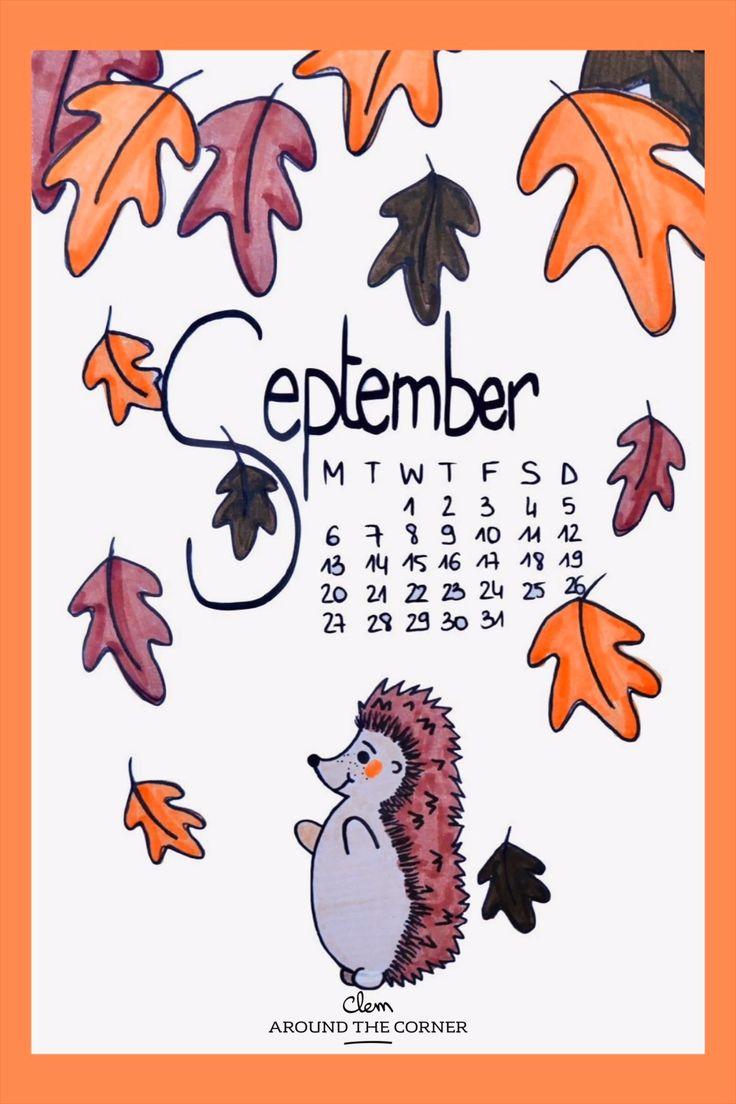 Erizo Otoño septiembre dibujo Bullet diario cubierta de periódico bujo – Clem Around The Corner