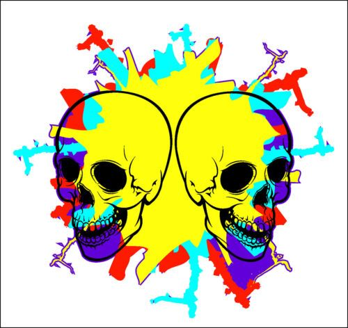 Pop art skull burst vinyl decal sticker in the vain of warlhol and the 60s