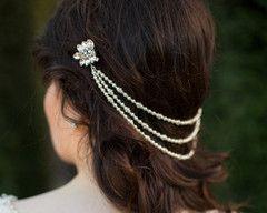 The Marina Triple Pearl Draped Headpiece.