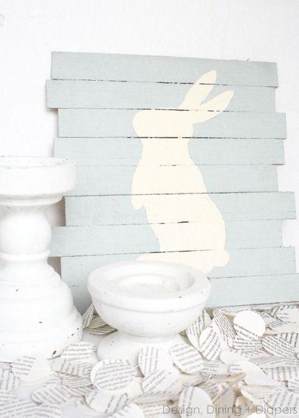 DIY Easter Bunny Pallet Art by DDD
