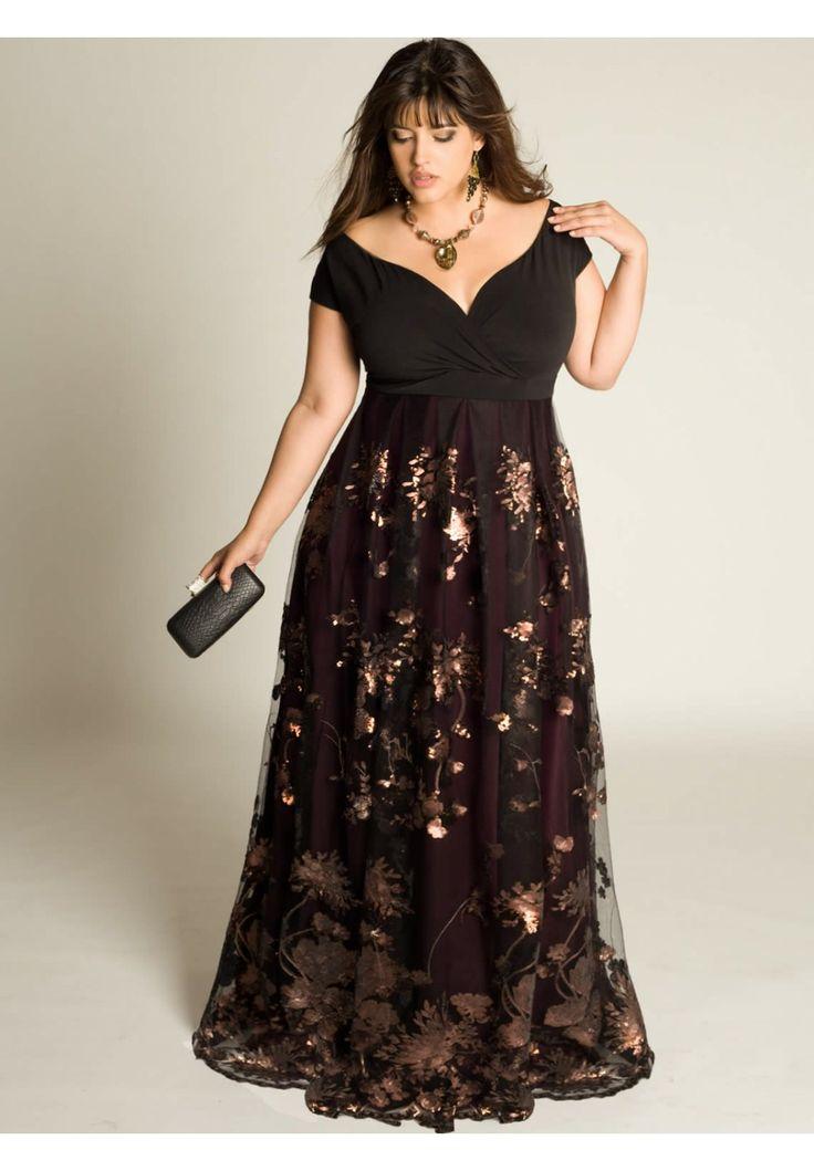 The IGIGI Plus Size Lakshmi Beaded Gown has a vintage influence that creates an air of romance.