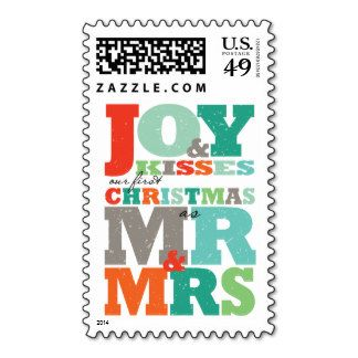 First Christmas Mr & Mrs Color Text Holiday Stamps http://www.zazzle.com/fat_fa_tin?rf=238481928796519839
