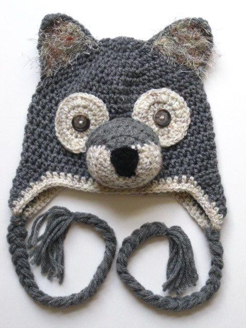 Crochet Wolf Beanie. $38.00. Would wear all year long