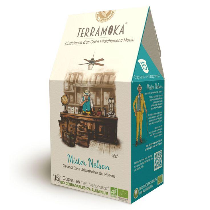 Découvrez Mister Nelson, notre capsule de café décaféiné 100% Arabica du Pérou. Ce produit est frais et bio.