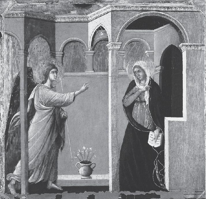 Fig. 2. Duccio, La Anunciación, 1308-1311, antiguo panel de La Maestá. National Gallery, Londres. Imagen tomada de Web Gallery of Art. Consultado el 30 de marzo de 2014. URL: w.wga.hu/support/viewer/z.html