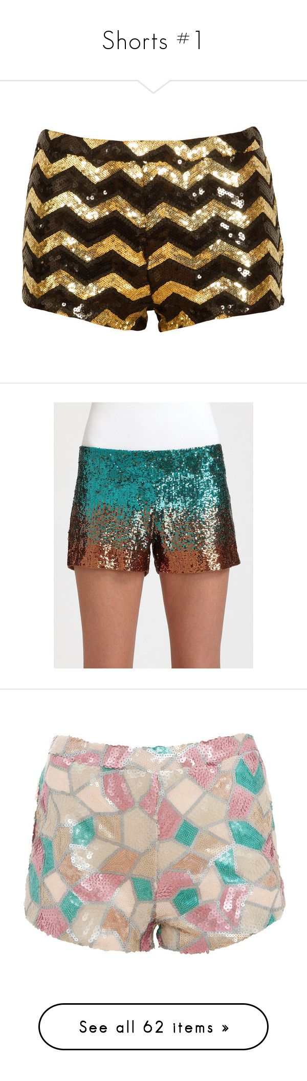 """""""Shorts #1"""" by lululafitte ❤ liked on Polyvore featuring shorts, bottoms, pants, short, mini short shorts, sequin hot pants, black and gold sequin shorts, hot shorts, micro short shorts and side zip shorts"""
