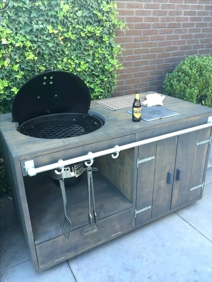 Diy Outdoor Kitchen With Charcoal Grill Google Search Nell Walker In 2020 Diy Outdoor Kitchen Bbq Table Grill Cart