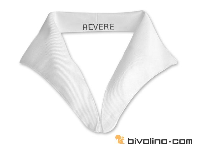 Revere collar for women. The revere collar is a part of the great classics of any woman's collar shirts wardrobe. It is a very particular collar that does not have any button on the collar band. A revere collar is therefore always worn open. It possesses a vertical stitch at the back of the collar band. The revere collar offers the constrating colour fabric option for the whole collar, the inside collar and the external collar for a bicolour shirt. The revere collar is for women shirts.