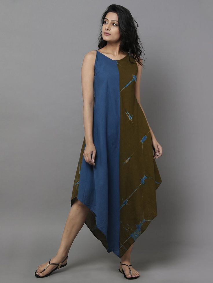 Olive Green Blue Cotton Dress