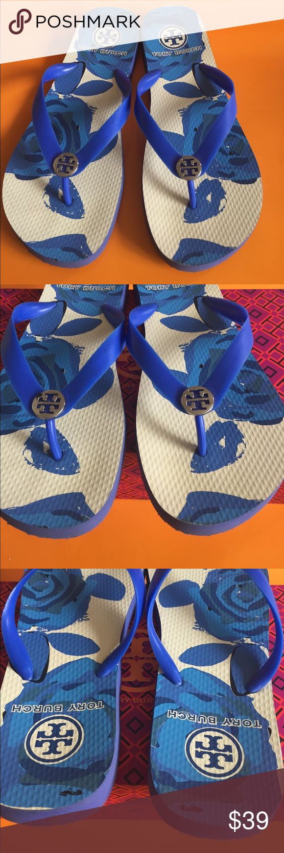 Tory Burch Flip Flops! Beautiful blue and white floral designed flip flops with silver TB logo. Gently used. No box. Tory Burch Shoes Slippers
