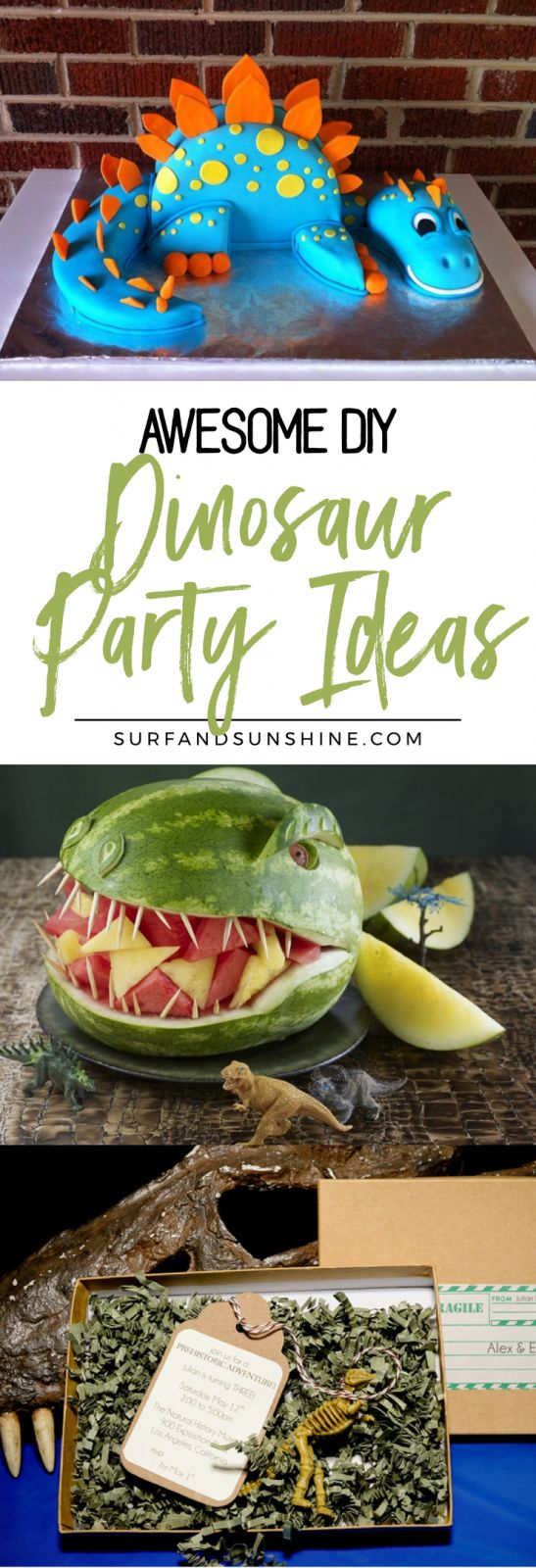 Awesome DIY Dinosaur Party Ideas That Will Make You Roar. Last year a few months before my son's birthday, my neighbor suggested my son's second birthday party revolve around dinosaurs. Not because he had any major interest in the pre-historic animals, bu