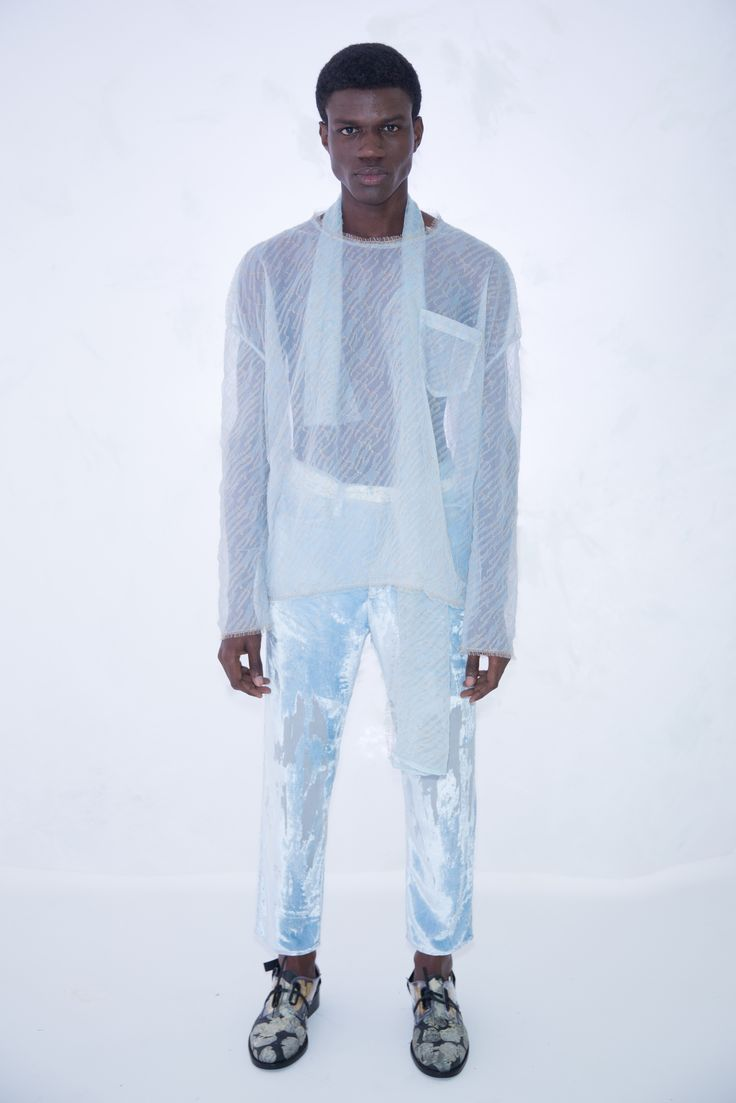 KA WA KEY Spring Summer 2017 London Collections: MEN Experimental sensuous romantic textile on Menswear / Womenswear / Knitwear as an east-meet-west impressionism painting Light Blue Lace Blouse Devore Velvet Jeans