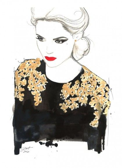 6 Fashion Illustrations We Love | theglitterguide.com. Bold red lips, golden work on sweater
