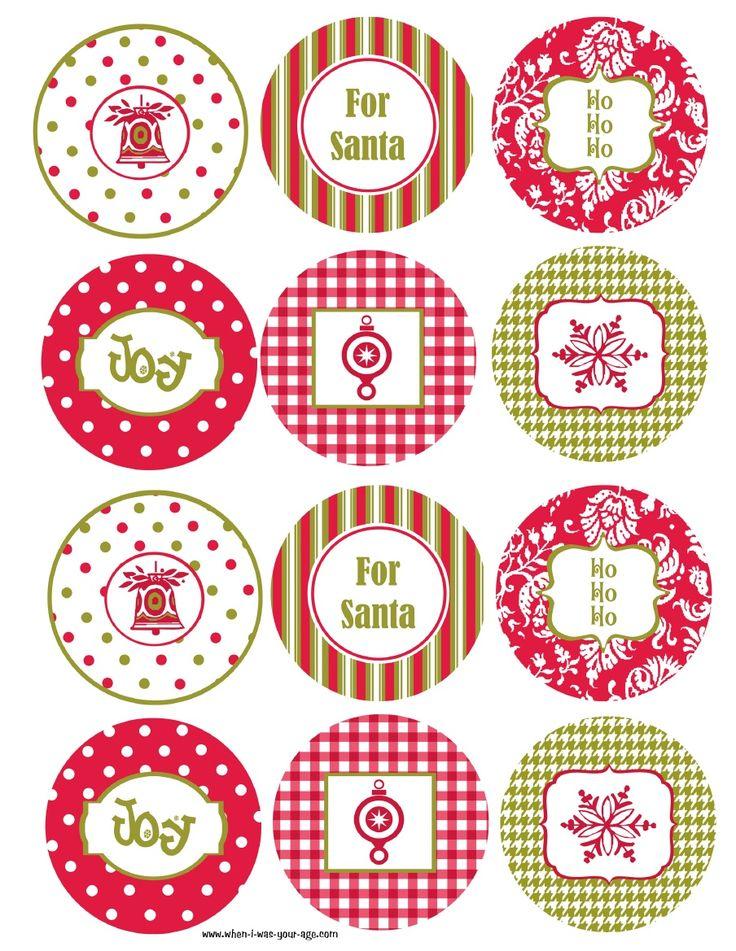 Free printable Christmas cupcake toppers.