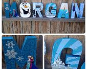 Custom Handmade Frozen Themed Bedroom or Child's Playroom Letters, or Frozen Themed Party Centerpiece.