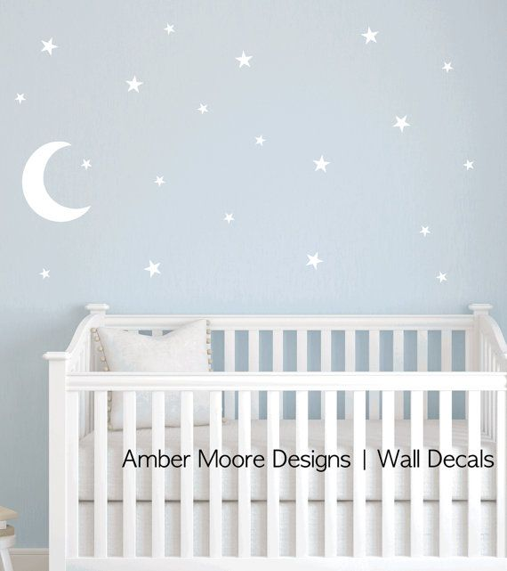 Moon and Stars Decal - Nursery Star Wall Decal - Children's Star Decal - Moon…