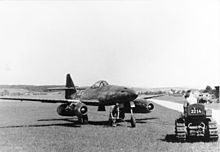 """Me 262 A, circa 1944-Schwalbe/ Sturmvogel (English: """"Swallow""""/ """"Storm Bird"""") of Nazi Germany was the world's first operational jet-powered fighter aircraft.[7] Design work started before World War II began, but engine problems and top-level interference kept the aircraft from operational status with the Luftwaffe until mid-1944."""