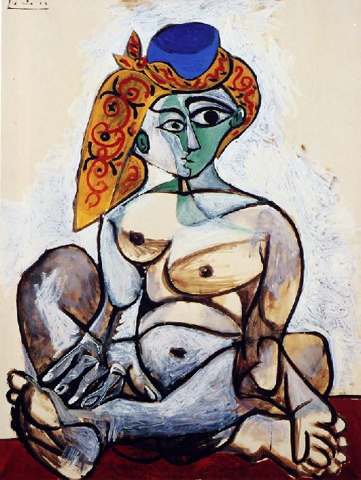 Female Nude In A Turkish Cap By Pablo Picasso, 1955
