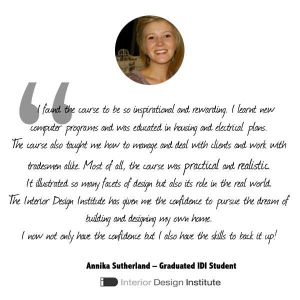 [Graduated Student of the Month]  Congratulations to Annika Sutherland who is a recent Graduate at The Interior Design Institute!